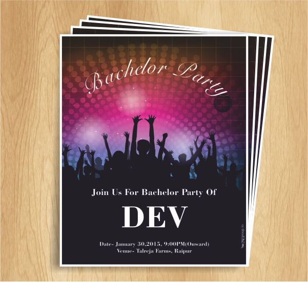 Creative Invitation design of Bachelor Party